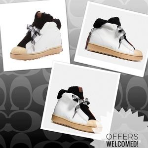 NWT COACH Colorblock high top sneaker fur Sz 6